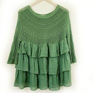 entro Fall Ruffles Crochet Ivy Green Top
